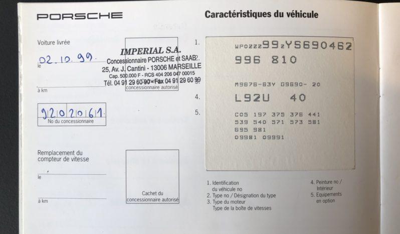 Porsche 996 GT3 MK1 2000 – Vendue complet
